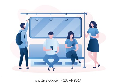 People in the subway,Male and female characters with smartphones,humans sitting and standing in metro,trendy style vector illustration