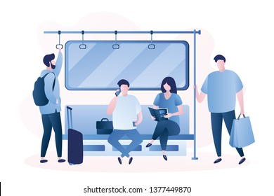 People in the subway,Male and female characters,humans sitting and standing in metro,trendy style vector illustration