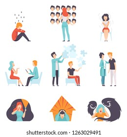 People suffering from mental disorders set, psychotherapists treating patients, mental health problems vector Illustration