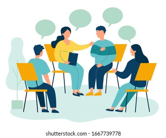 People suffering from problems, attending psychological support meeting. Patients sitting in circle, talking. Vector illustration for group therapy, counseling, psychology, help, conversation concept