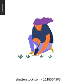 People summer gardening - flat vector concept illustration of a young woman sitting on the ground in the squatting position planting a plant into the soil with a scoop, self-sufficiency concept