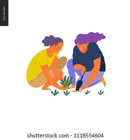 People summer gardening - flat vector concept illustration of two young weman sitting on the ground in the squatting position planting a plant into the soil with a scoop, self-sufficiency concept