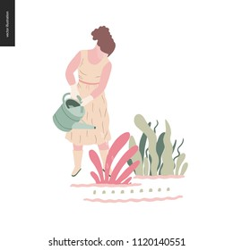 People summer gardening - flat vector concept illustration of a young woman wearing long dress, mitts and boots, watering a plant, self-sufficiency concept