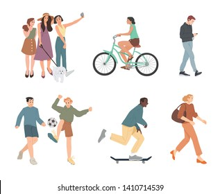 People. Summer outdoors activities. Walking, Riding bicycle, playing, skateboarding. Group of children, boys and girls, male and female cartoon characters