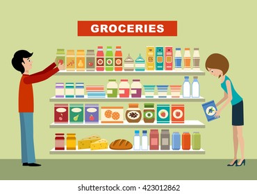 People in a supermarket. Groceries. Vector