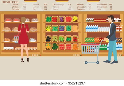 People in supermarket grocery store with fresh food, fruits, vegetables, beverage, vector illustration.