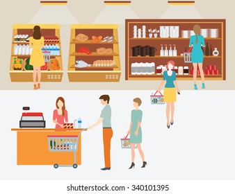 People in supermarket grocery store with shopping baskets for  line up to pay for shopping isolated vector illustration.