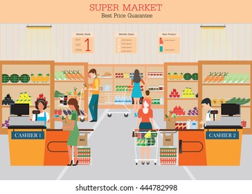 People in supermarket grocery store with shopping baskets. Isolated vector illustration.