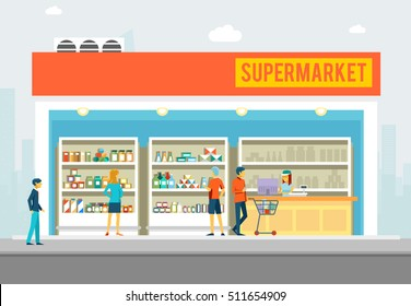 People in supermarket. Interior shop for marketing banners. Big store with products. Vector illustration