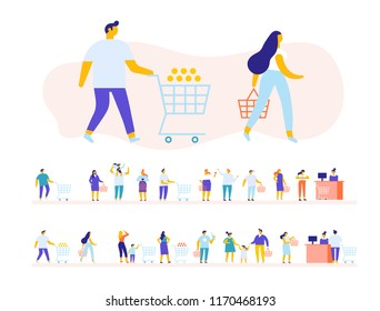 People in supermarket. People waiting in long queue at counter. Flat vector illustration.