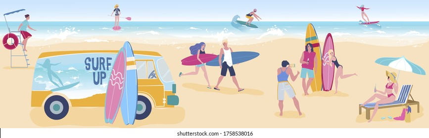 People surf, relax on tropical sea beach flat vector illustration. Cartoon surfer man or woman characters in bikini relaxing, sunbathing, tourists in tropic seaside paradise summer vacation background
