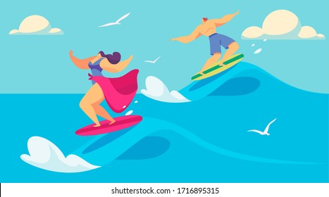 People surfing in ocean, man and woman on surfboards, vector illustration. Summer vacation activity, extreme sport and healthy lifestyle. Couple of surfers riding waves in ocean, active summer leisure