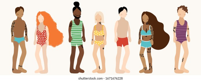 People in swim suits on vacation beach party summer holidays set isolated vector illustration for your decoration