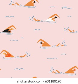 People swimming in the ocean seamless pattern. Summertime travel illustration in vector.