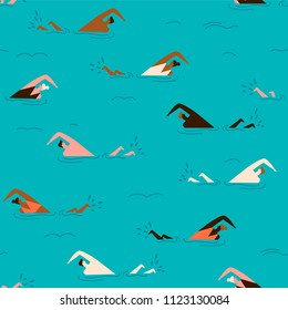 People swimming in the swimming pool seamless pattern. Summertime beach illustration in vector.