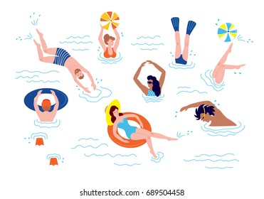 People swimming and rests in the sea. Vector summer illustration with swimmers.