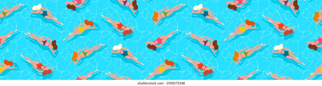 People swimming in water, swimming pool, sea, ocean summer vacation background