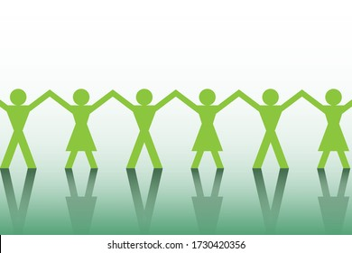 People symbol paper cut holding hand together. Group of gender icon. Man and woman sign meeting hands. Unity and teamwork concept.