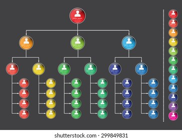 People Symbols with Colorful Circle Organizational Chart Infographics, Business Structure Concept, Business Flowchart Work Process, Vector Illustration.