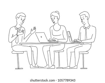 People at the table interviewing. Recruitment work commission. Explanation of the project. Business situation. Hand drawn vector illustration.