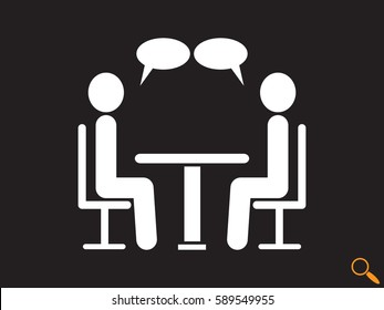 people at the table, talking, communication, icon, vector illustration eps10