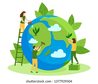 People take care about planet ecology. Cleaning, green planting and watering. Protect Nature And Ecology banner. Happy Earth Day modern graphic design poster. People color creative vector illustration