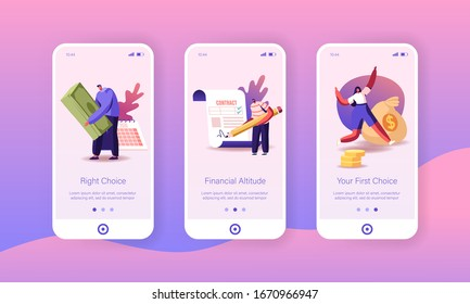 People Take Money Loan in Bank Mobile App Page Onboard Screen Template. Tiny Characters Signing Contract, Take Cash in Micro Credit Finance Organization, Debt Concept. Cartoon Vector Illustration