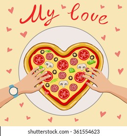 People take pizza-heart.Beige background with red hearts.It can be used to design greeting cards with Valentine's day.Boy and girl pulling hand to pizza.A top view of a meal.My love.
