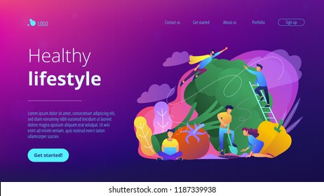 People taking care of vegetables. Healthy lifestyle landing page. Vegetarianism, vegetarian diet, meat abstaining, veggie recipe, eco friendly. Vector illustration on ultraviolet background.