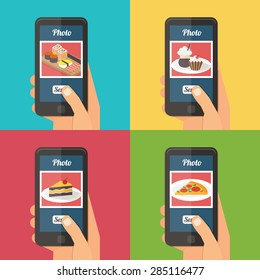 People taking picture photo of food in restaurant with smartphone, sharing in social network. Selfie shot flat vector illustration set