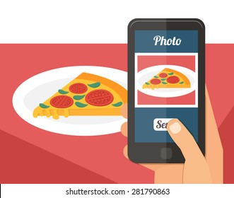 People taking picture photo of their food in restaurant with smartphone, selfie shot flat vector illustration