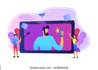 People taking selfie with smartphones and selfie-sticks as a concept of selfie culture, social network, blog, vlog, self-portrait, popularity. Violet palette. Vector illustration on background.