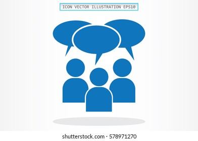 people and talk cloud vector icon.
