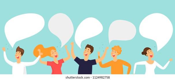 People talk. Flat design vector illustration.