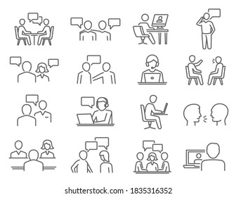 People talk, negotiation, speech thin line icons set isolated on white. Discussion, meeting, chat outline pictograms collection. Debate, controversy, gossip vector elements for infographic, web.