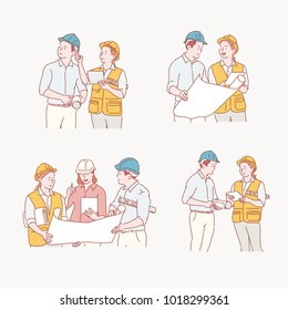 people talking about the blueprints at the construction site. hand drawn style vector doodle design illustrations.