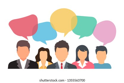 People talking with colorful speech bubbles. are discussing social network, news, social networks, chat, dialogue speech bubbles