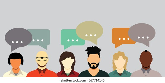 People talking. Communication with speech bubbles.