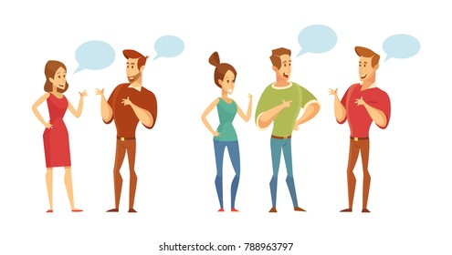 People talking to each other. Discussion, exchange of ideas. Vector set of characters.Illustration in a flat style isolated on white.