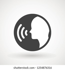 People talking icon. Voice command with sound waves icon vector. Vector