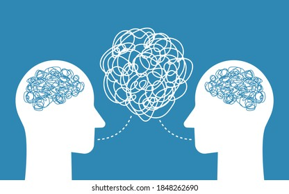 People talking nonsense speech. Head of person with tangled line inside. Poor communication, not understanding, confused speech, unclear explanations. Vector illustration