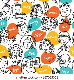 People talking on the phone, take a selfie, write a message. Seamless pattern.