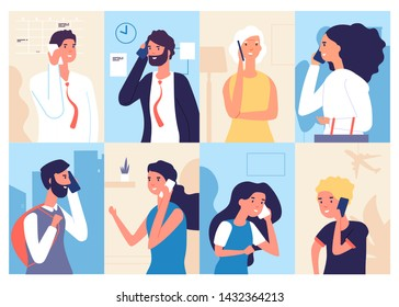 People talking phone. Men and women calling by telephone. Communication and conversation with smartphone vector characters set. Illustration of phone call, speaking social, talking and chatting