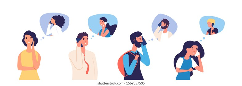 People talking phone. Men, women, teenagers calling by telephone. Flat communication and conversation with smartphone vector characters