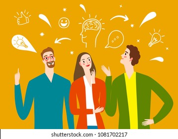 People talking and thinking. Including doodle elements. Brainstorm illustration for your design.