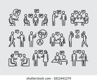 Die Leute reden. Zwei Personen sprechen über Gesichter, um Vektorliniensymbole zu sehen