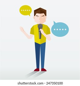 People Talking Using Microphone Vector Illustration