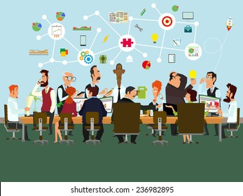 People talking and working at the computers in the office. Flat design style. vector illustration.