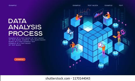 People in the team analyze diorrams and graphics. Data visualization concept. 3d isometric vector illustration.