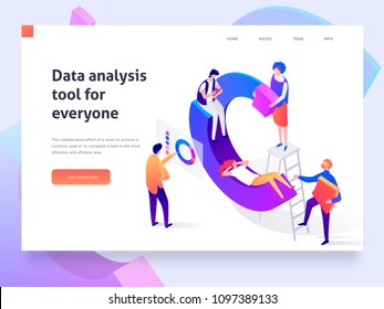 People in a team build a pay chart and interact with graphs. Data analysis, and office situations. Landing page template. 3d isometric illustration